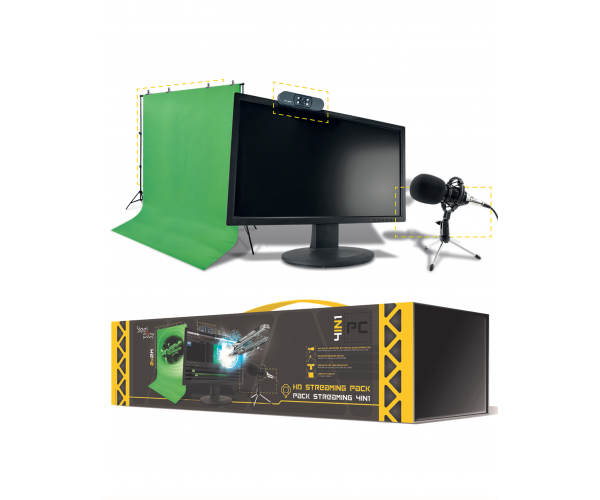 Steelplay Pro HD 4-in-1 Streaming Pack (Webcam / Microphone / Green Screen)