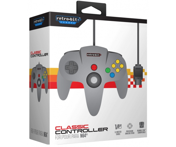Retro-Bit N64 Classic Controller - Grey