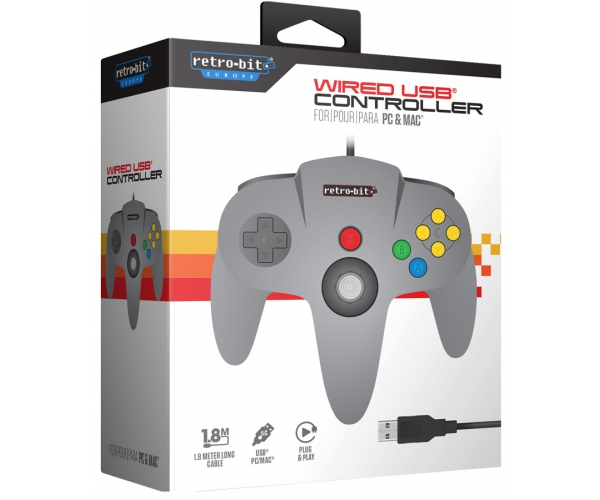 Retro-Bit N64 USB Controller - Grey
