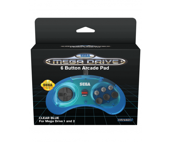 Retro-Bit SEGA Mega Drive 6-Button Classic Controller Clear Blue