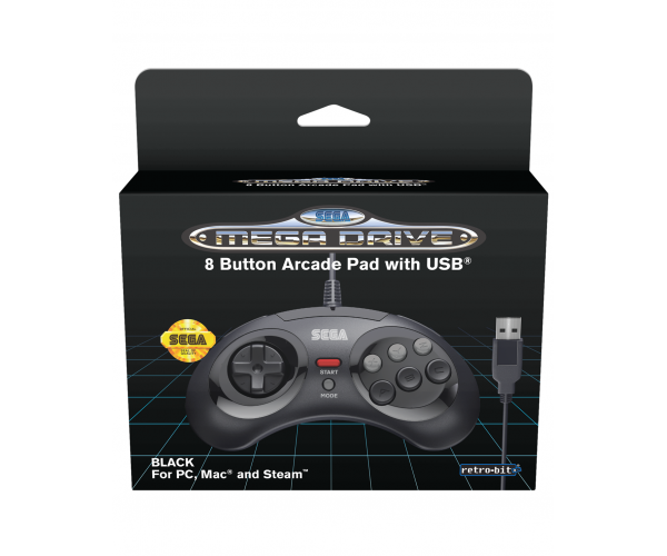 Retro-Bit SEGA Mega Drive 8-Button USB Controller Black