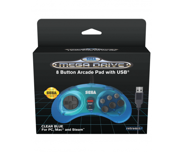 Retro-Bit SEGA Mega Drive 8-Button USB Controller Clear Blue