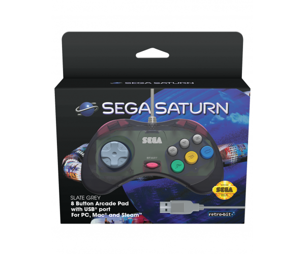 Retro-Bit SEGA Saturn USB Controller Slate Grey