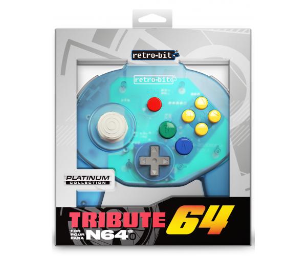 Retro-Bit N64 Tribute Controller Ocean Blue