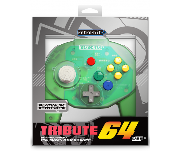 Retro-Bit N64 Tribute USB Controller Forest Green
