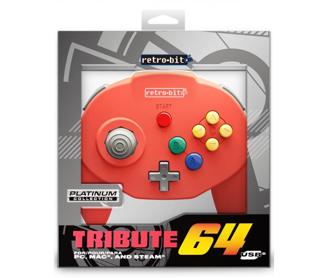 Retro-Bit N64 Tribute USB Controller Red
