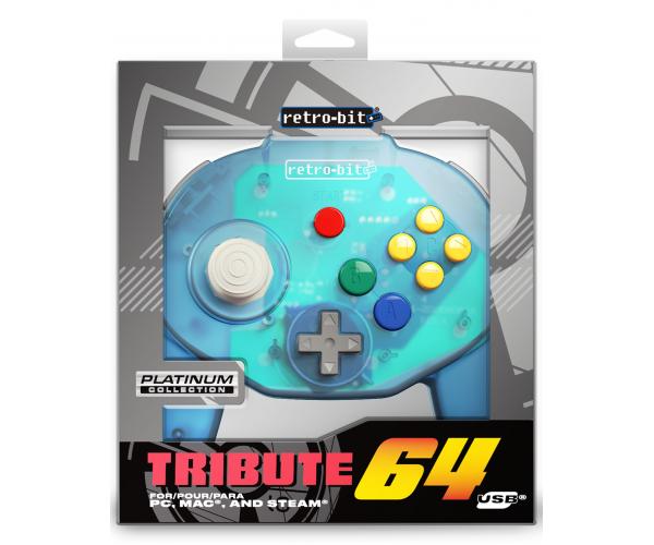 Retro-Bit N64 Tribute USB Controller Ocean Blue